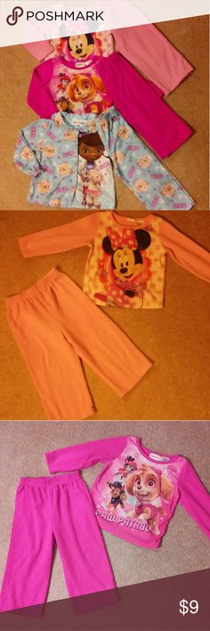 3T sleepwear bundle 3t toddler girl pajama lot 6 pieces All long sleeve and long pants fleece 2 piece sets 3 pair of pajamas  Disney brand Minnie Mouse Nickelodeon brand Paw patrol Disney brand Doc McStuffins  ALL IN GREAT GENTLY USED CONDITION No stains or holes - slight pilling  CHEAPER WHEN BUNDLED WITH OTHER ITEMS IN MY CLOSET Disney Pajamas Pajama Sets