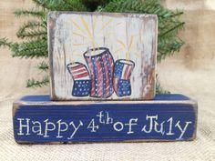 Primitive Patriotic Americana Fireworks Happy by DoughAndSplinters