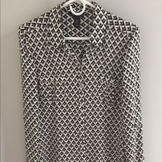 Real silk button down. FINAL PRICE Cool pattern, real silk. So soft and comfy. White House Black Market Tops Blouses
