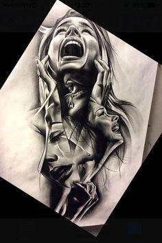 Sad Drawings, Dark Art Drawings, Pencil Art Drawings, Art Drawings Sketches, Tattoo Sketches, Tattoo Drawings, Amazing Pencil Drawings, Drawing Faces, Drawing Art