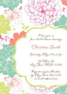 Printable Bridal Shower Invitation - Elegant Bright Blooms. $10.00, via Etsy.