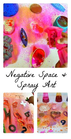 Fun activity fit for toddlers, preschoolers and kindergartners. Explore negative space trough spraying.