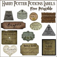 Do you want a Harry Potter theme for Halloween in your home? Try these Harry Potter Potions Labels to create apothecary bottles throughout your home to make it feel like Hogwarts! Harry Potter Diy, Deco Noel Harry Potter, Natal Do Harry Potter, Harry Potter Navidad, Harry Potter Potion Labels, Magie Harry Potter, Harry Potter Weihnachten, Harry Potter Fiesta, Harry Potter Thema