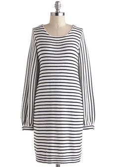 Bayside Cafe Dress - Black, Stripes, Casual, Sheath / Shift, Long Sleeve, Mid-length, White, Buttons, Pockets, Nautical
