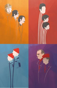 Set of 4, Wes Anderson lead characters representation - by Fro Design Co