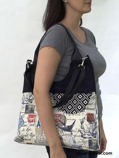 Extra Large Tote/ Travel Stamp Fabric/ Vegan Friendly/ Fabric Handmade Purse/ Artisan Made Bag - http://oleantravel.com/extra-large-tote-travel-stamp-fabric-vegan-friendly-fabric-handmade-purse-artisan-made-bag