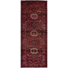 eCarpetGallery Koliai Red Wool/Cotton Hand-knotted Traditional Runner Rug (3'8 x 10') (Red Dark Red Rug (3' x 10')), Size 3' x 10'