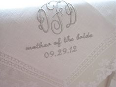 White Irish Linen Lace Handkerchief with 3-Initial Monogram, Mother of the Bride/Groom and Date