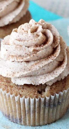 Cinnamon Sugar Swirl Cupcakes Recipe ~ There is cinnamon in the cupcake batter and layers of cinnamon sugar in the cupcake. Then, they are topped with cinnamon frosting and sprinkled with a little more cinnamon and sugar.
