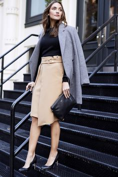 Angled wrap hem tan skirt. Non-basic tan skirt