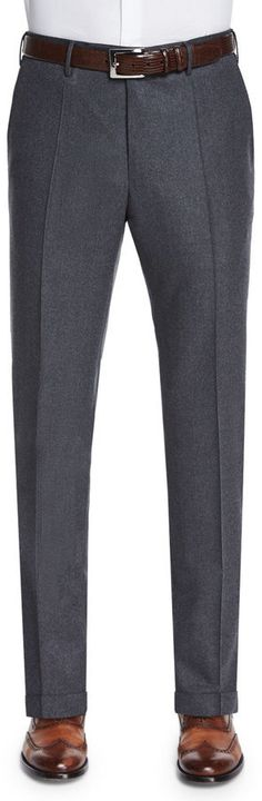 $337, Incotex Woolcashmere Flannel Trousers Charcoal. Sold by Neiman Marcus. Click for more info: https://lookastic.com/men/shop_items/385922/redirect