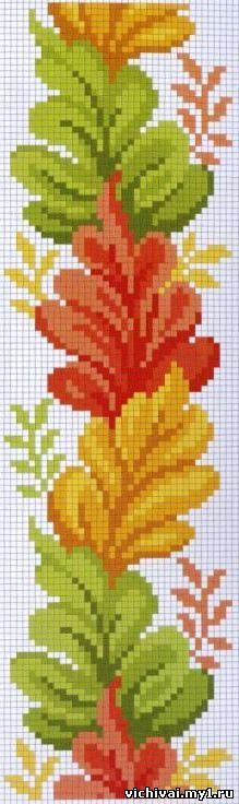 X-stitch pretty leaves Fall Cross Stitch, Cross Stitch Borders, Cross Stitch Flowers, Cross Stitch Charts, Cross Stitch Designs, Cross Stitching, Cross Stitch Embroidery, Cross Stitch Patterns, Bead Loom Patterns