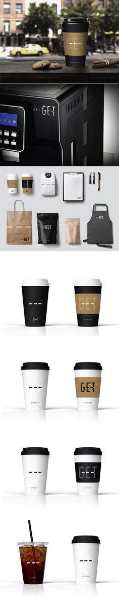 GET Cafe brand identity development by STONE. Brand Name: GET Cafe [Client] BGF Retail (CU) [Project Scope] Brand Name, BI Basic Design.  stonebc.com #branding #communications #brand #coffee #cafe #stone #design #designer #logo #graphic #packaging #package #style #drink #beverage #creative #BI Coffee Shop Branding, Cafe Branding, Coffee Packaging, Brand Packaging, Packaging Design, Ci Design, Email Design, Logo Design, Cafe Names Ideas