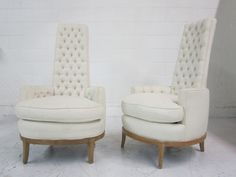 Hollywood Regency White Tufted High-Back Chairs