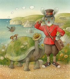 Turtle And Rabbit05 Painting by Kestutis Kasparavicius - Turtle And ...