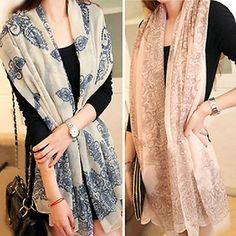 Women's blue and white scarf