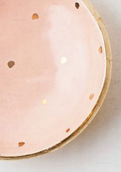 Peach and gold polka dot pottery