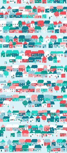 Russfussuk 'Suburbia' D5A #pattern #patterndesign #patternprint #town #city #suburb #houses #people #neighbourhood #generative #geometria #cadernos #padrões #russfussuk