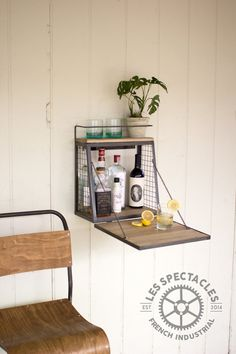 Wall Bar With Fold Down Shelf by LesSpectacles on Etsy