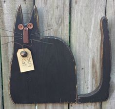 Primitive Barn Cat  Folk Art  Solid Wood  by GypsyWindPrimitives