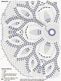"Photo from album ""Dekoratives Hakeln on Yandex. Crochet Doily Diagram, Crochet Doily Patterns, Crochet Chart, Filet Crochet, Crochet Doilies, Crochet Flowers, Knit Crochet, Pineapple Crochet, Crochet Potholders"