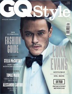 Luke Evans wears an off-white tuxedo jacket and black bow-tie for the cover of GQ Style Germany.