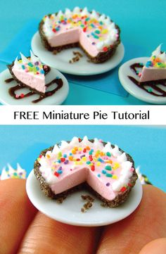 DIY Make this dollhouse miniature pie - FREE tutorial!