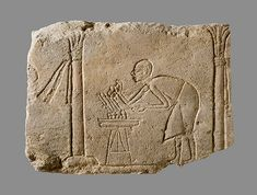 Relief with palace attendant, New Kingdom, Amarna Period, Dynasty 18, ca. 1353–1336 B.C. Egyptian; from Egypt Sandstone H. 9 1/16 in. (23 cm), W. 12 in. (30.5 cm), D. 1 3/4 in. (4.5 cm) Rogers Fund, 1965 (65.129) MET Museum