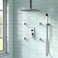 Rebrilliant Cahoon Shower System w/ Rain Shower, 4 Body Jets and Handheld Showerhead Small Shower Remodel, Bathroom Remodel Cost, Bath Remodel, Bathroom Remodeling, Remodeling Ideas, Easy Bathroom Updates, Bathroom Ideas, Bathroom Storage, Bathroom Inspiration
