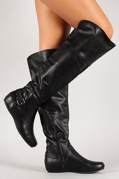 Buckled Flat Knee High Boot