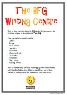This writing pack contains 16 different writing prompts for children related to Roald Dahl's The BFG. Prompts include activities with: - Letters - Recipe - Word Search - Narratives - Persuasive - Character traits - Dictionary - Metaphors - Diary entry - Missing Poster Persuasive Writing, Writing Prompts, Diary Entry, Bfg, Character Trait, Food Words, Roald Dahl, Teaching Resources, Word Search