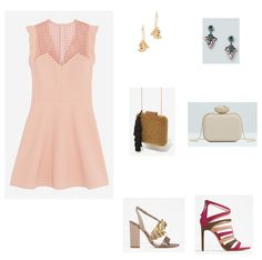 Blush dress. Option 1:+gold earrings+golden clutch with black tassels+nude and gold ankle strap heeled sandals. Option 2: green and pink earrings+beige clutch+pink, brown and nude ankle strap heeled sandals. Summer Day Event Outfit 2016