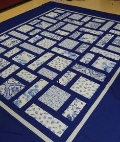 Diy Crafts - Blue and White like-china or porcelain Contemporary Quilt - blue, gray and white, Custom Made-to-Order Quilt Japanese Quilt Patterns, Patchwork Quilt Patterns, Japanese Quilts, Patchwork Fabric, Big Block Quilts, Lap Quilts, Quilt Blocks, Denim Quilts, Denim Rug