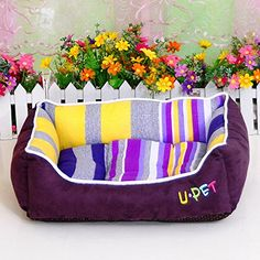 Colorful Rainbow Stripes Dog Bed with Removable Bed Mat >>> See this awesome image  : dog beds
