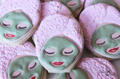 Spa Day Cookies Spa Party Slumber Party Cookies by Bakinginheels Spa Cookies, Galletas Cookies, Fancy Cookies, Iced Cookies, Cute Cookies, Royal Icing Cookies, Cupcake Cookies, Cookies Et Biscuits, Spa Cupcakes