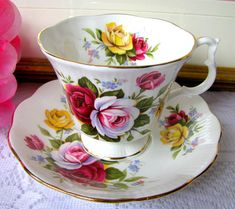 Royal Albert Red Rose Pink Yellow Rose Teacup and Saucer Yellow Rose Gainsborough Rose Bouquet English Bone China Vintage Wedding Bridal