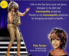 """As quoted from Vogue (May """"Tina Tuner looks about thirty-six, and her skin is flawless. She does not deprive herself. She sips wine at dinner, does not diet, and does not take vitamins. If she is particularly stressed, she consults a homeopathic doctor. Soul Singers, Alternative Health, Homeopathy, The Cure, Remedies, Bring It On, Diet, Wine Cellar, Celebrities"""
