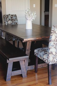 Definately the table for me... so in love with the kona stain! My 4 Misters & Their Sister: DIY Handmade Farmhouse Table and Benches