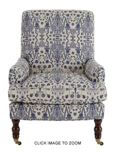Wonderful Ikat fabric on a chair from Horchow - upholstered in Mumbai Indian Blue Textile by Lacefield Designs www.lacefielddesigns.com #ikat #indigo