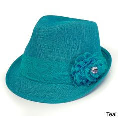 Magid Lace Trim and Flower Straw Fedora Hat   Overstock™ Shopping - Great Deals on Women's Hats