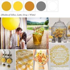 {Sweet Country Soiree}: Shades of Yellow, Latte, Gray + White http://www.theperfectpalette.com/2012/04/sweet-country-soiree-shades-of-yellow.html