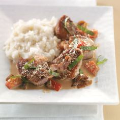 Tuscan Pork Medallions Recipe  This was one the best meals I've ever cooked at home. It's a must try.  I used salsa instead of tomatoes.  OMG - SO GOOD!!!  I can't wait to eat leftovers and make it again!!