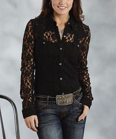 Another great find on #zulily! Roper Black Lace Button-Up - Women by Roper #zulilyfinds