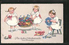 carte postale ancienne: CPA Illustrateur Lia Döring: Fille tragen einen des fleurskorb et winden einen Blütenkranz, Namenstag