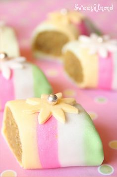 ♔ Fondant-covered cookies  by Sweet Almond. So pretty.