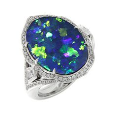 Floral Harlequin Lightning Ridge Black Opal ring by @FlorenceKat