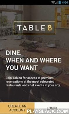 Table8 Restaurant Reservations  Android App - playslack.com ,  VIP access to the most celebrated restaurants and culinary eventsNow available in Los Angeles, San Francisco, New York, Washington DC, Chicago, Las Vegas, New Orleans, Seattle, Atlanta and Miami!Table8 makes it easy to discover and book amazing dining experiences—when and where you want. Our curated recommendations will always point you to amazing dining. And we partner with hundreds of top restaurants across the US to offer…