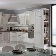 Mobexpert bucatarie alb Ginevra White Kitchen Cabinets, Kitchen Cabinet Design, Interior Design Kitchen, Rustic Kitchen, Kitchen Decor, Cosy House, Cabin Kitchens, Living Room Designs, Sweet Home