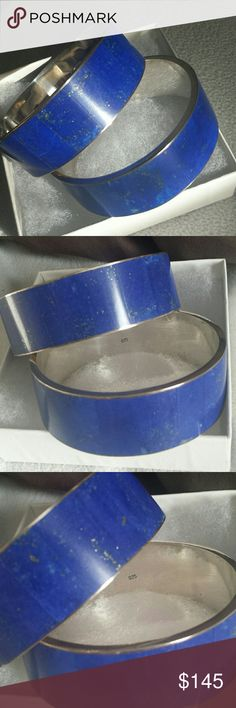 Solid Silver Bracelet 925 Sterling Silver  925 Bracelet with Lapis Lazuli.  My husband brought them from Afghanistan but they are to big for me. 2 and half inches wide. Bundle of 2. Jewelry Bracelets