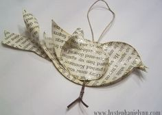 Recycled Book Page Bird Ornament {No.2}